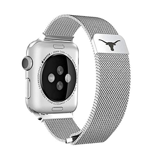 Texas Longhorns Stainless Steel Band Compatible with The Apple Watch - 42mm/44mm ()