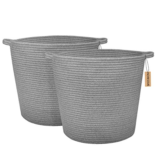 (INDRESSME 2 Pack XL Round Cotton Rope Storage Soft Basket Baby Laundry Basket Floor Woven Baskets with Handle Nusery Sotrage Toys Blanket Throw Basket16.0