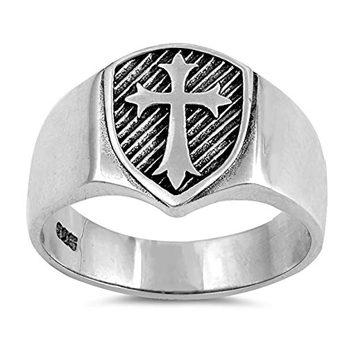 Sterling Silver Signet Ring Medieval Cross Ring 13mm (Size 6 to 13), 13