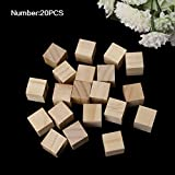 "Zeaya Wooden Square Blocks Mini Cubes Embellishment for Woodwork Craft DIY (20Pcs (20mm/0.79""))"