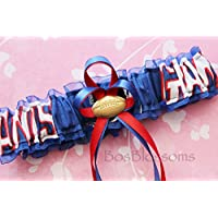 Customizable - New York NY Giants fabric handmade into bridal prom blue organza wedding garter with football charm