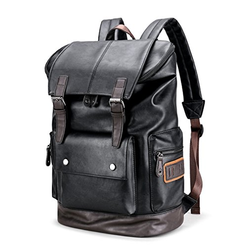 78d0d9397f8c UKXMNC Travel Casual Men Leather Travle Backpack For Simple Patchwork Large  Capacity Backpack black 30x44x17 cm