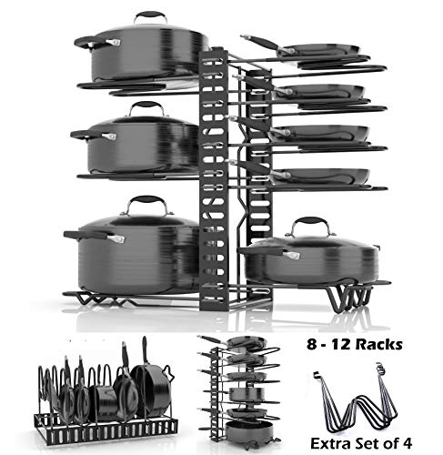 SKATCO Pot Organizer Rack - Metal Pots & Pans Organizer - Pantry & Kitchen Cabinet Organizer - Heavy Duty Lids, Dishes, Pots and Pans Organizer - Horizontal & Vertical Pan Rack with 3 Use Methods