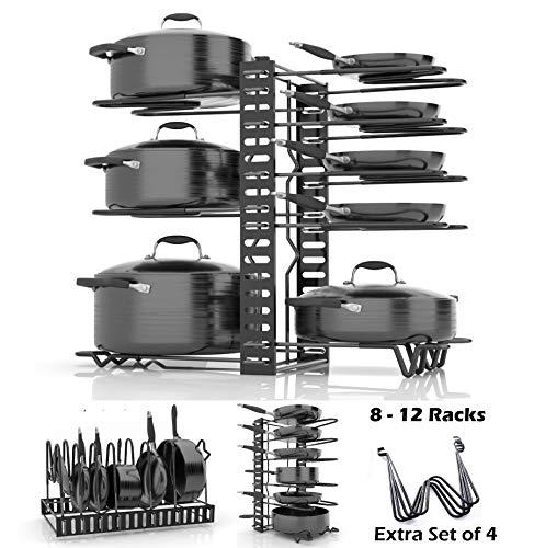 - SKATCO Pot Organizer Rack - Metal Pots & Pans Organizer - Pantry & Kitchen Cabinet Organizer - Heavy Duty Lids, Dishes, Pots and Pans Organizer - Horizontal & Vertical Pan Rack with 3 Use Methods