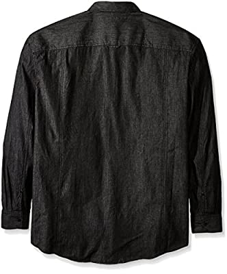 Sean John Men's Big and Tall Raw Black Denim Button up Shirt