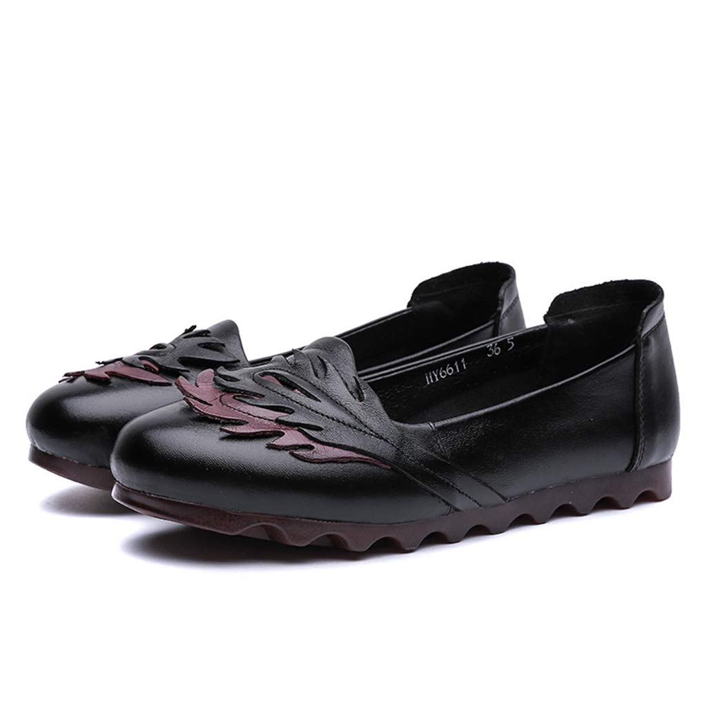 Black Andy Pansy Winter New Mother's shoes Old and Middle Age Soft Sole Single shoes Beef tendons Flat Leaf Flower Women's shoes