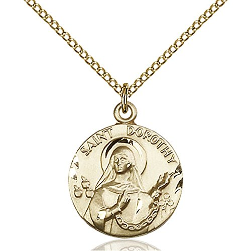Gold Filled St. Dorothy Pendant 3/4 x 5/8 inches with Gold Filled Lite Curb Chain by Bonyak Jewelry Saint Medal Collection
