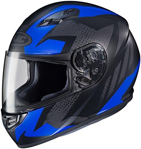 Mc2 Blue Motorcycle Helmet (HJC CS-R3 Full Face Motorcycle Helmet Treague Graphic Flat Blue MC-2 (XL))