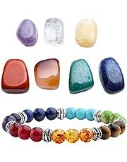 Top Plaza 7 Chakra Reiki Healing Crystals Yoga Balance Irregular Shape Polished Tumbled Palm Stones W/ 7 Chakra Healing Crystal Bracelet (7 Chakra Bracelet Without Charm)