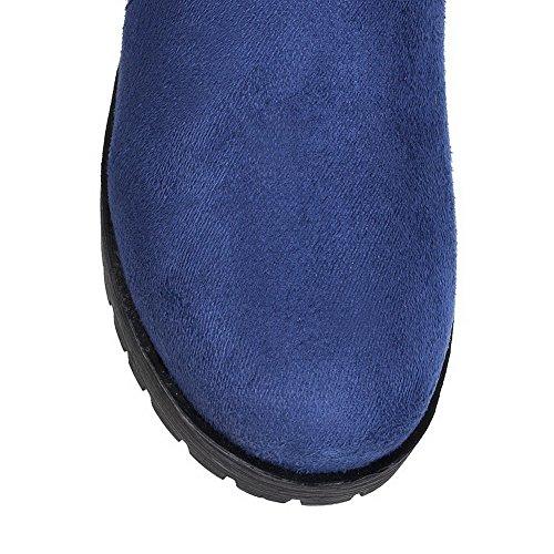 AllhqFashion Damen Mittler Absatz Mattglasbirne Oberschenkel Hohe Rein Ziehen auf Stiefel Blau