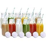 YEBODA 11oz Glass Milk Bottles with Reusable Metal