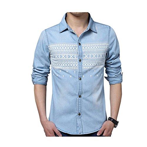 Price comparison product image NeeKer Jacket Men Shirt Fashion Print Denim Shirt Casual Slim Fit Long-Sleeved Cotton Shirt Z2181 Lightblue M