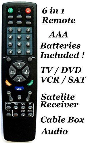 Universal Remote Controller 6 in 1 TV DVD VCR Satellite Rece