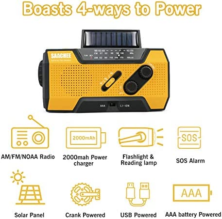 Saachee Solar Radio: Hand Crank Portable Radio, NOAA Weather Radio for Household and Outdoor Emergency with AM/FM, LED Flashlight, Reading Lamp, 2000mAh Power Bank USB Charger and SOS Siren/Flashing! 516jkRcFpLL
