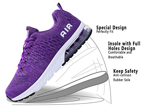 PENGCHENG Women Running Men Lightweight Cushion Air Shoes Tennis Sport Purple Walking Sneakers rTwBxr