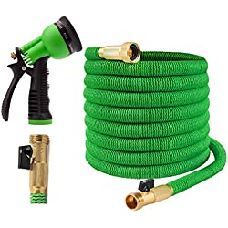 Joeys Garden Expandable Garden Hose - 50 Feet Green - Extra Strong Stretch Material with Brass Connectors - Bonus 8 Way Spray Nozzle Included