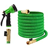 Joeys Garden Expandable Garden Hose - 25 Feet Green - Extra Strong Stretch Material with Brass Connectors - Bonus 8 Way Spray Nozzle Included