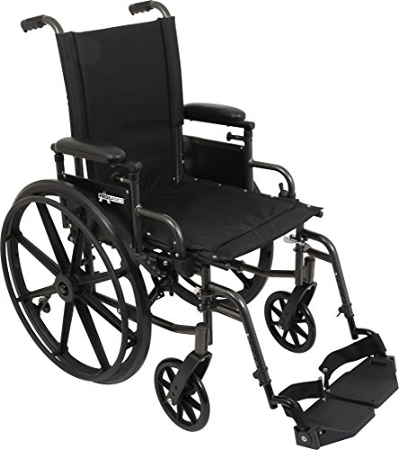 ProBasics Ultra Lightweight Wheelchair for Adults - Height Adjustable Seat - Flip Back Heaight Adjustable Desk Arms - Swing-Away Foot Rest, 18