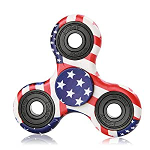 NOING Tri Fidget Hand Spinner Camouflage Multi-Color Double Side Printed, EDC Focus Toy For Kids & Adults (American flag)