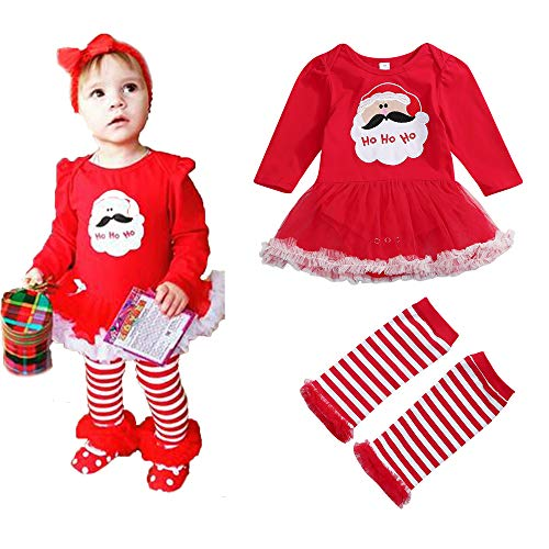 Newborn Baby Girls Xmas Romper Tutu Long Sleeves Letters Santa Print Dress Skirt Tutu + Red Striped Leg Warmer Set (18-24 Months, Red) -