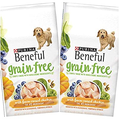 2 Bags of Purina Beneful Grain Free with Real Farm-Raised Chicken Dry Dog Food 4.5 lbs ea