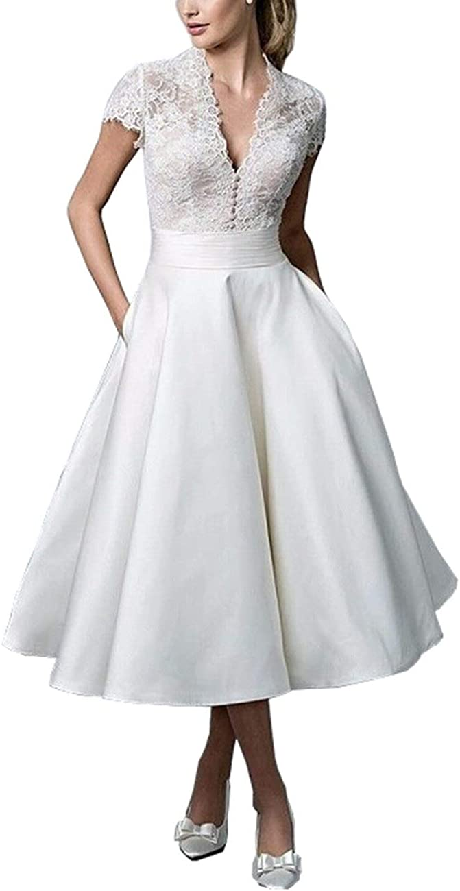 Mulanbridal Women\'s V Neck Short Sleeves Tea Length Short Wedding Dress  Satin Plus Size Bridal Gowns