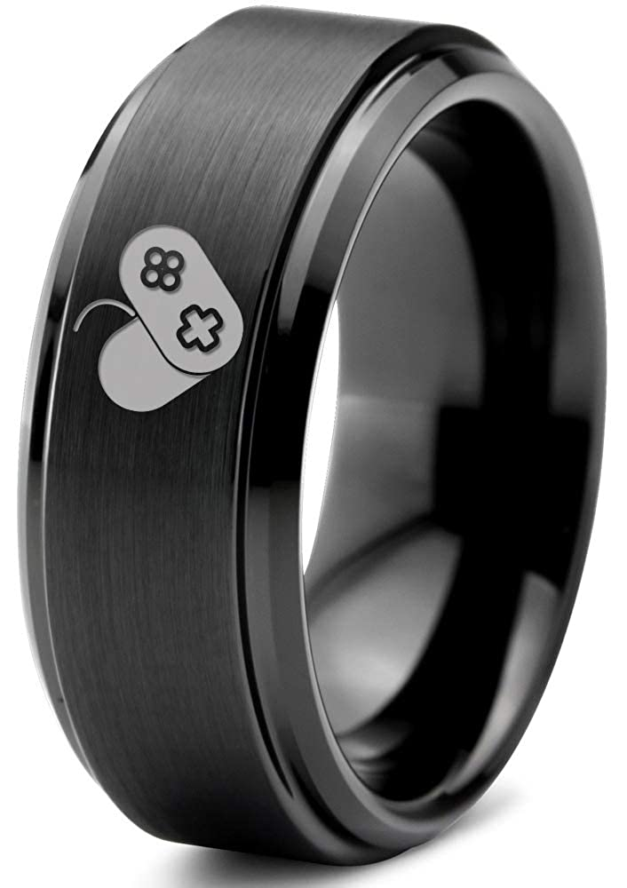 18k Rose Gold Step Bevel Edge Brushed Tungsten Band 8mm Women Gaming Gamer Video Game Love Heart Emoji Ring Blue Polished Wedding Yellow Grey Men Black Gift Dome Flat Cut