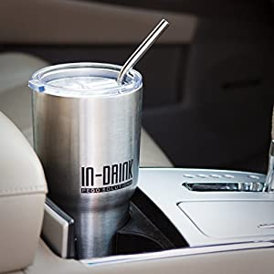 IN-DRINK Tumbler 30oz. Double Wall Vacuum Insulated with Anti-Slip Handle, Spill-Free Lid and Extra Wide Stainless Steel Straw (Cleaning brush included)