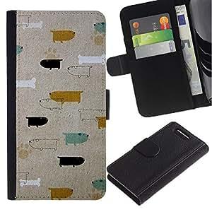iBinBang / Flip Funda de Cuero Case Cover - Patrón Perros Dachshund del trullo del oro - Sony Xperia Z1 Compact D5503