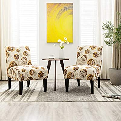 Altrobene Armless Slipper Accent Chairs/Set of 2 / Living Room Bedroom  Chair / 4 Pack Washable Slipcovers/Beige & Floral & Yellow