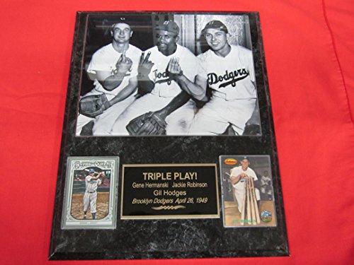 (Gene Hermanski Jackie Robinson Gil Hodges Brooklyn Dodgers 2 Card Collector Plaque w/8x10 TRIPLE PLAY Photo)