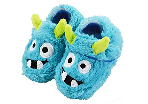 LA PLAGE Boy's Warm Comfort Fluffy Monster Bedroom House Cartoon Slippers