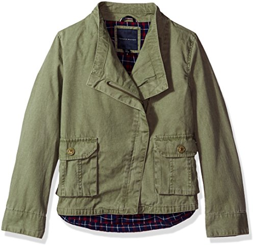 - Tommy Hilfiger Girls' Big Cargo and Plaid Jacket, Sagier Green Medium