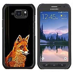 Caucho caso de Shell duro de la cubierta de accesorios de protección BY RAYDREAMMM - Samsung Galaxy S6Active Active G890A - Glowing Flaming Fox