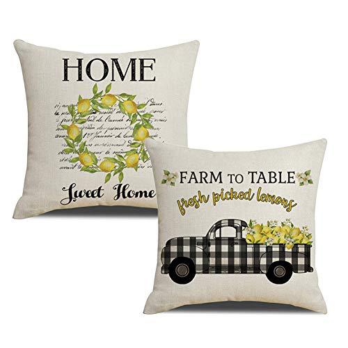 KACOPOL Farmer's Market Fresh Lemon Buffalo Check Truck Pillow Covers Farmhouse Quotes Home Sweet Home Farm Decorative Cotton Linen Throw Pillow Case Cushion Cover 18