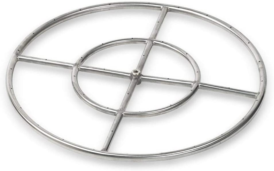 24-Inch American Fireglass Stainless Steel Fire Pit Burner Ring