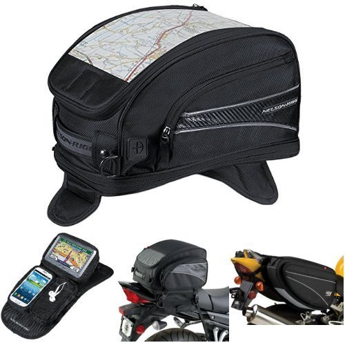 Nelson-Rigg CL-2015-MG Black Magnetic Mount Journey Sport Tank Bag,  CL-GPS-MG Black Magnetic Mount Journey GPS Mate,  (CL-1040-TP) Black Jumbo Expandable Tail Bag,  and  CL-950 Black Deluxe Sport Touring Saddle Bag Bundle