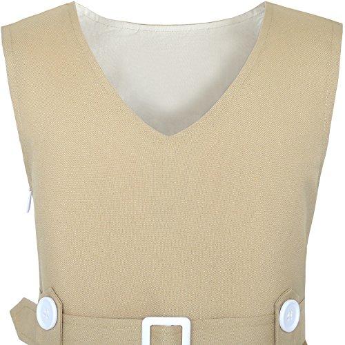 Sunny Khaki Pleated Button Hem Years 6 Back Fashion 14 Color School Girls Size Uniform Dress Wheat rqnOrxt8