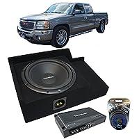 Fits 1999-2006 GMC Sierra Ext Cab Truck Rockford Prime R1S412 Single 12 Sub Box Enclosure & R150X2 Amp