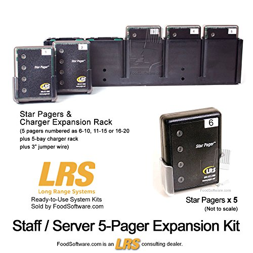 Restaurant Server Pager System Expansion Kit with 5 Pagers and Charger Rack