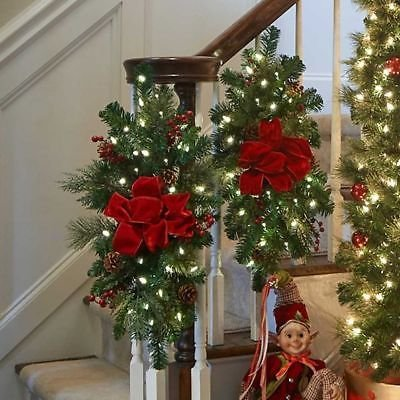 Outdoor Lighted Christmas Swag And Bow - 4