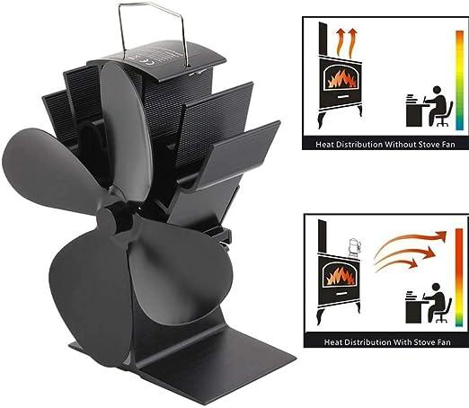 YOUYE 4 aspas Ventilador de Estufa de leña Ecofan silencioso Negro ...