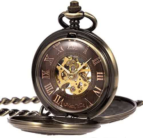 ManChDa Antique Mens Pocket Watch Mechanical Double Open 3D Steam Train Railroad Ruman Numerals