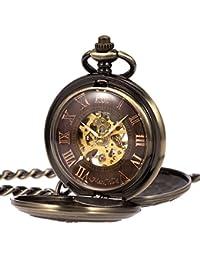 Antique Mens Pocket Watch Mechanical Double Open 3D Steam Train Railroad Ruman Numerals