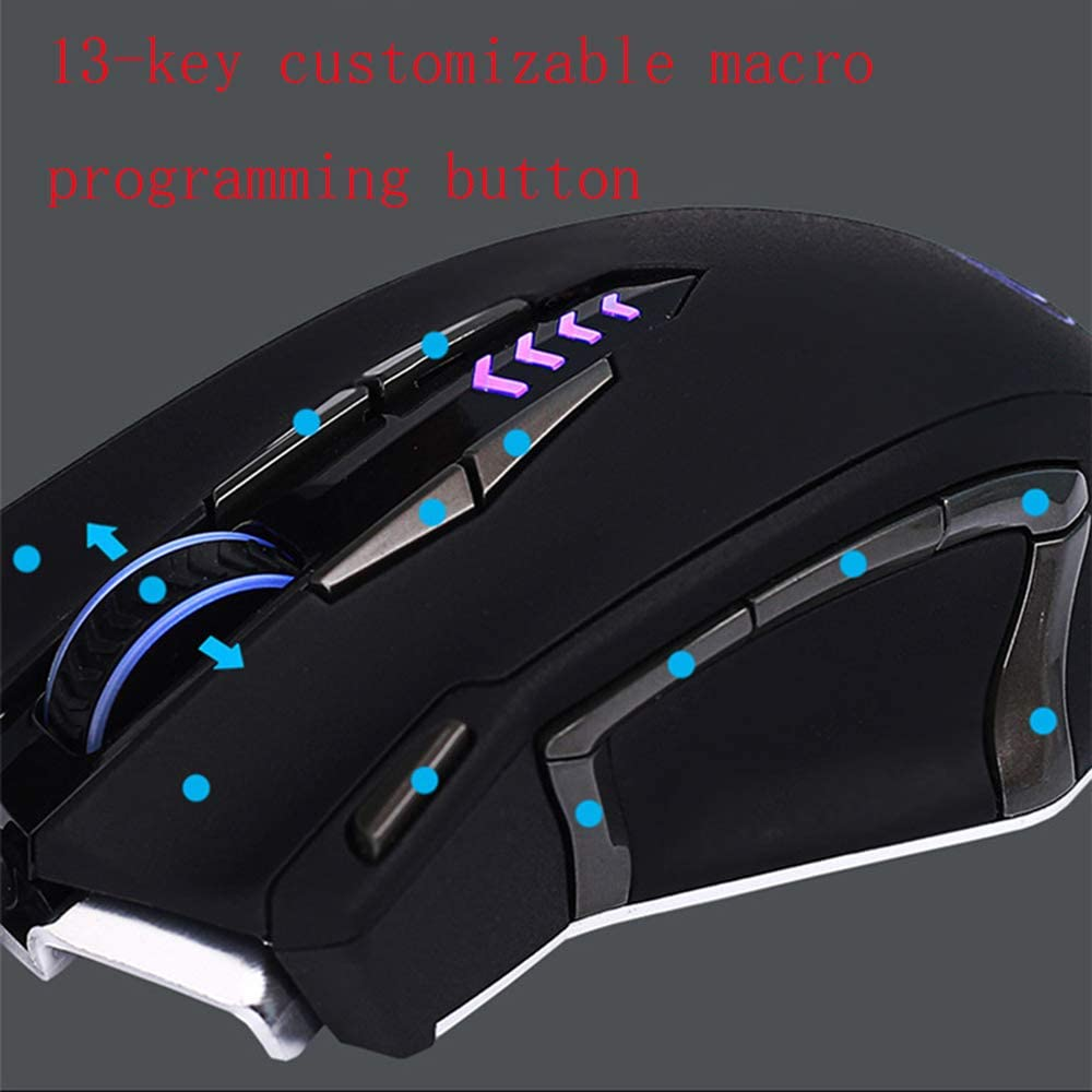CHUSHENG Gaming Mouse 13 Button Can Be Customized Macro Programming Button 5 Color Custom Indicator Free to Switch Inside The Matching Weight Can Be Installed Disassembled
