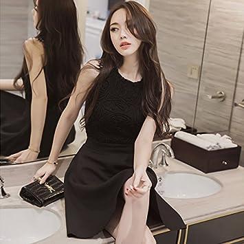 Señoras slim adelgazar carteras de encaje sin mangas vestido largo doble ,M,Negro