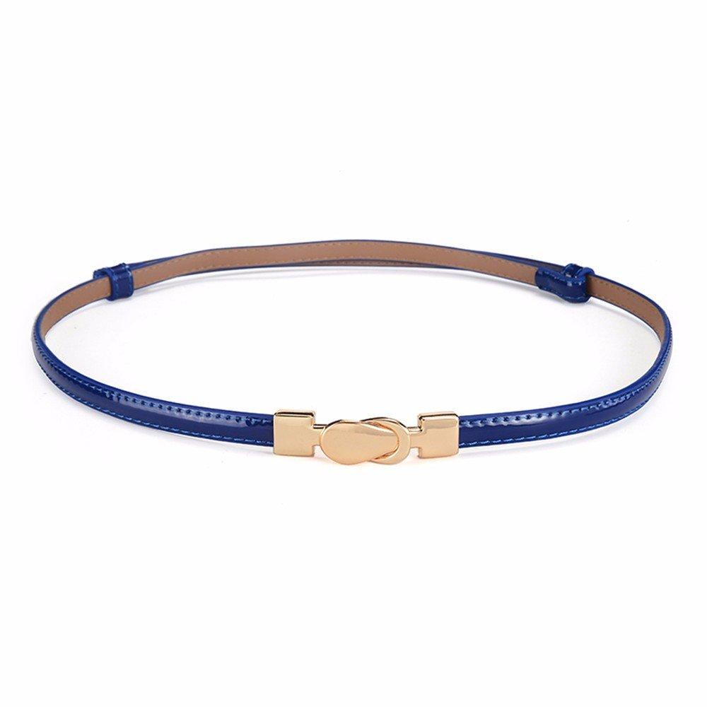 SAIBANGZI Ms Women All Seasons Belt Fine Leather Decorative Fashion Dress Belt Girlfriend Present Blue 96Cm