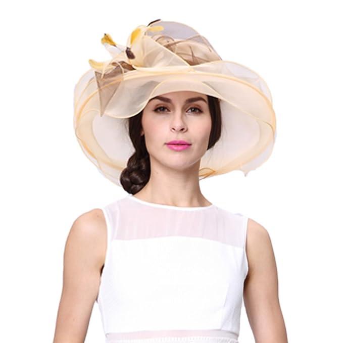 June s Young Sombrero Mujer para Verano Organza Pamelas Playa Sol Elegante  con Piedra Joyas Sombrero Pamela 1524c47f695
