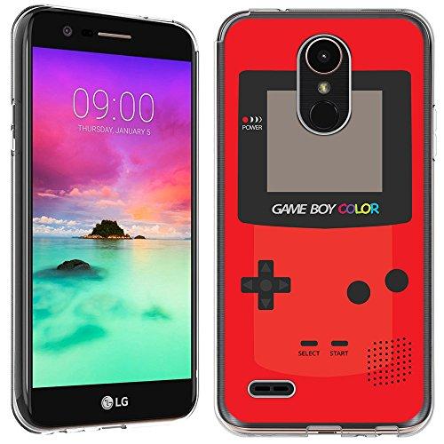 LG Stylo 3 Plus case - [GameBoy Color Red] (Crystal Clear) PaletteShield Soft Flexible TPU gel skin phone cover (fit LG Stylo 3 Plus/ Stylo (Case Headset Lcd Stylus)