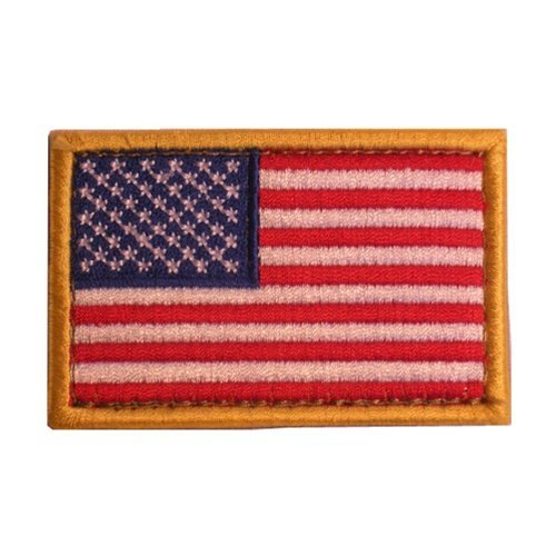American US Flag Patch Gold Border